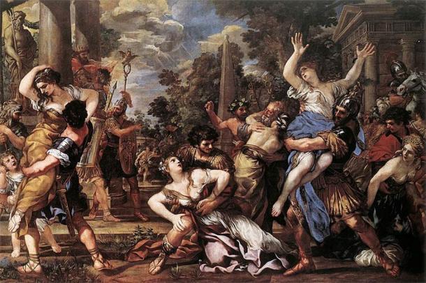 The Rape of the Sabine Women, in a painting by Pietro da Cortona in the Capitoline Museum in Rome. (Public domain)