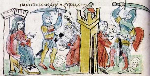 After the death of Igor of Kiev, his wife Olga took control and immediately avenged the death of her husband. (Public domain)