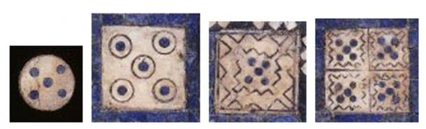 The floating pieces and squares with a pattern possibly symbolizing water. (Provided by the author)