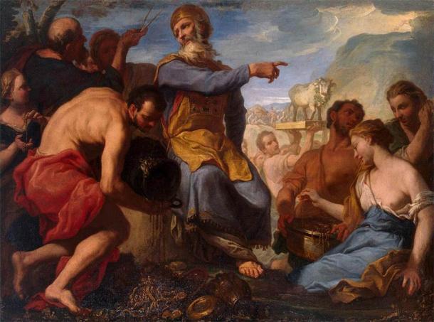 'Adoration of the Golden Calf' by Antonio Molinari. (Public Domain)