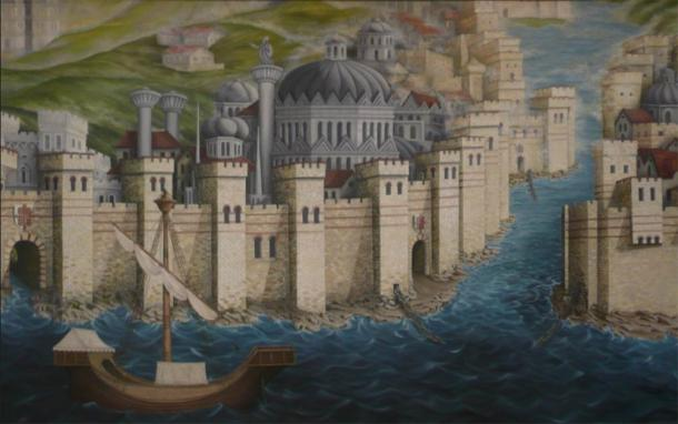 A mural in the Istanbul Archaeology Museums depicting the seaward walls of the Byzantine capital, the Golden Horn with its chains and the Genoese Colony. (CC BY-SA 3.0)