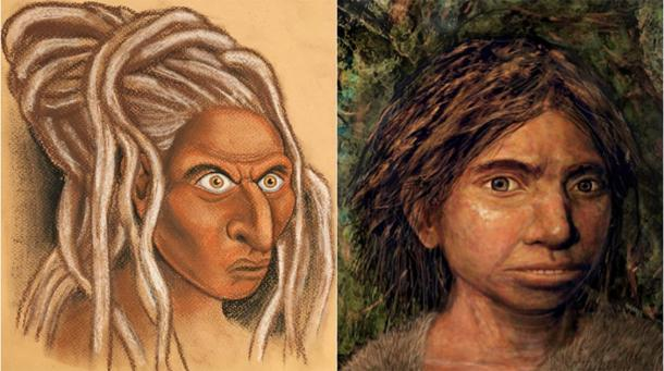 The reconstructed face of a Siberian Denisovan (left) alongside the Hebrew University's own representation of a Sunda Denisovan (right). (Picture credits: Left, © Hernandez/Cartwright/Collins; Right, © Maayan-Harel)