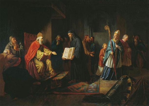 Volodymyr, the Grand Prince Vladimir, received envoys from the various new global religions. In this Ivan Eggink painting, he can be discussing religion with an Orthodox priest, while a papal envoy looks on. (Public domain)