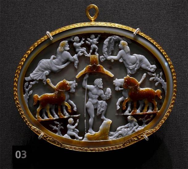 Un cameo que muestra a Poseidón como el gimnasiarca de los Juegos Istmicos como el dios de los caballos. (Vassil / CC0)