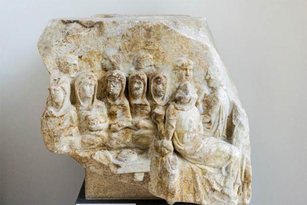 Marble fragment from Luna, Italy showing the Vestal Virgins at a banquet. Vestal Virgins could not marry while serving their role but that didn't stop Elagabalus. (Rabax63 / CC BY-SA 4.0)