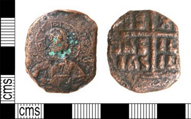 A copper alloy Byzantine coin, attributed to Romanus III (1028-1034 AD) or Michael IV (1034-1041 AD), possibly dating to c. 1030-1042 AD. This coin was discovered in Ormesby, England. (Portable Antiquities Scheme /CC BY 2.0)