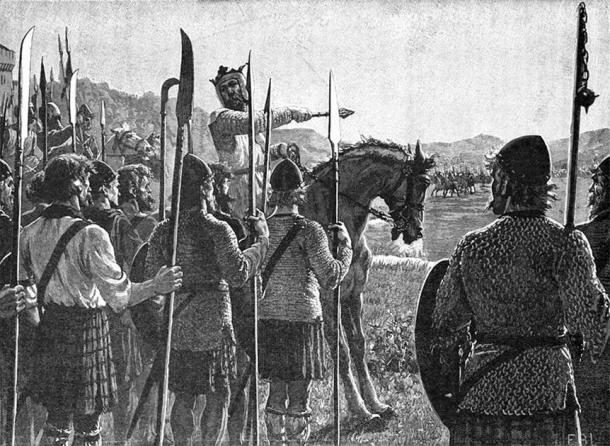 Bannockburn: Bruce Reviewing His Troops Before the Battle. (Public Domain)
