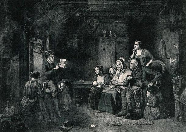 A family sits and listens to a letter from emigrants being read to them by a young man. (Wellcome Images/CC BY 4.0)