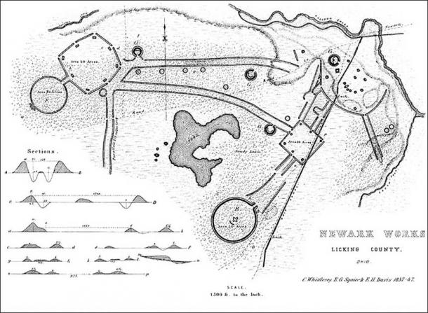 The site where the objects were found is known as The Newark Earthworks, Newark, Ohio, USA. 19th-century plan of the Works (Public Domain)