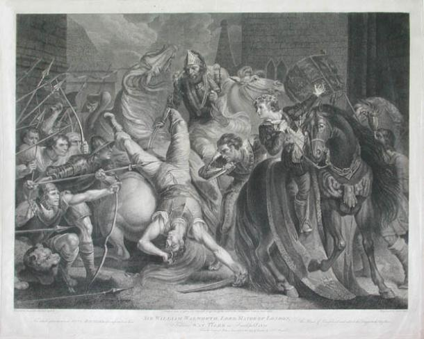 Engraving by Anker Smith showing the death of Wat Tyler in Smithfield 1381. (Public domain)