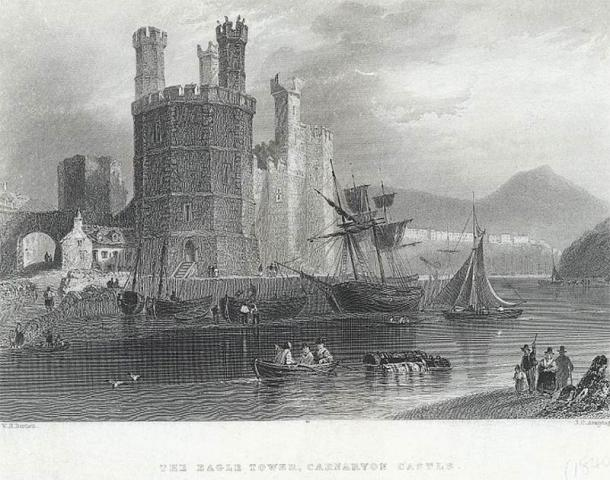 Engraving of the Eagle Tower at Caenarvon Castle from about 1840. (National Library of Wales / CC0)