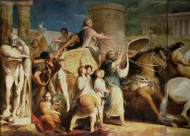 Crowning of victors of the Olympic Games at Olympia. (Public domain)