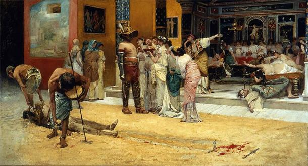 Retired gladiators were often hired to perform at special ceremonies or as male prostitutes to wealthy patrons. (Public domain)