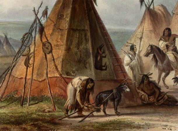 Detail from a Karl Bodmer painting showing a dog with a travois in an Assiniboine camp in the Great Plains. (Public domain)