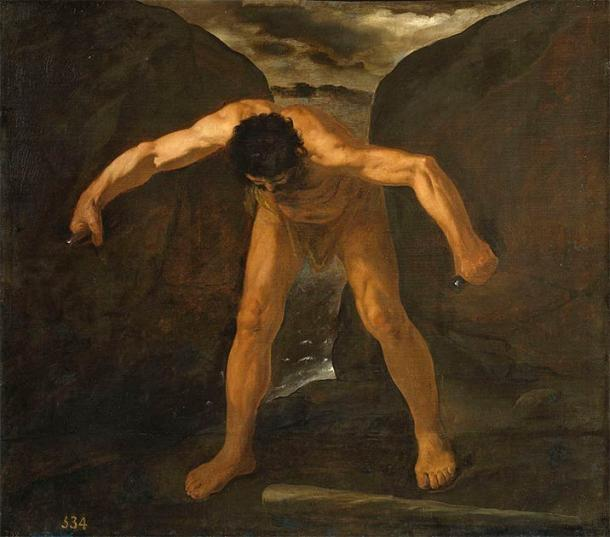 Painting by Francisco de Zurbarán depicting Hercules as he separates the two mountains Calpe and Abyla, also known as the Pilllars of Hercules. (Public domain)