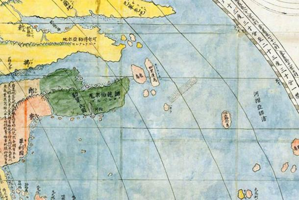 "Portion of Kunyu Wanguo Quantu map showing Newfoundland Island. The four ancient Chinese characters on the representation of Newfoundland Island read ""Island like a Chinese Garden.' (Public Domain)"