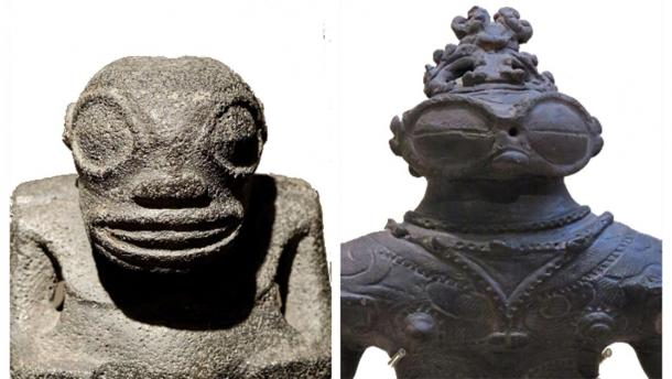 """A side-by-side comparison of two sculptures, separated by vast expanses of turbulent ocean. To the right, the """"goggle-eyed"""" dogu from Kamegaoka, late Jomon period (1,000- 400 BC) (CC BY SA 4.0) and to the left, a Tiki sculpture found in the Marquesas Islands, French Polynesia (Public Domain)."""