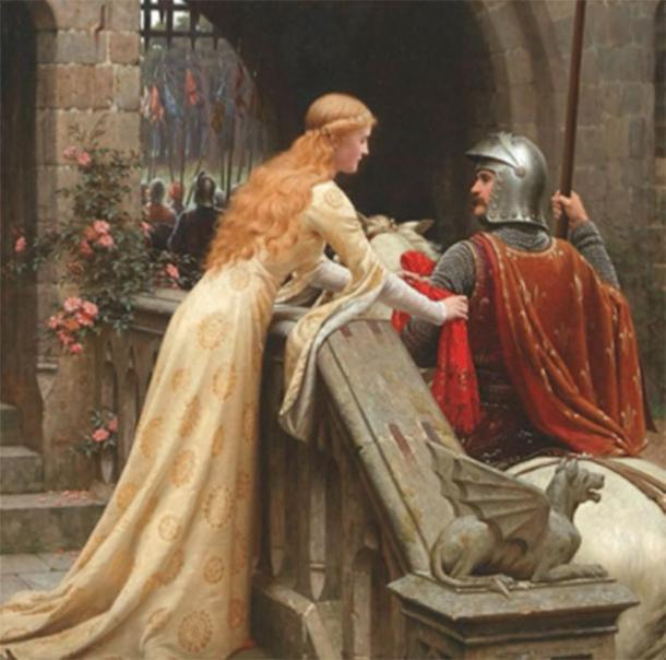 Knights of Gawain's time were tested in their ability to balance the male-oriented chivalric code with the female-oriented rules of courtly love. (Edmund Leighton / Public domain)