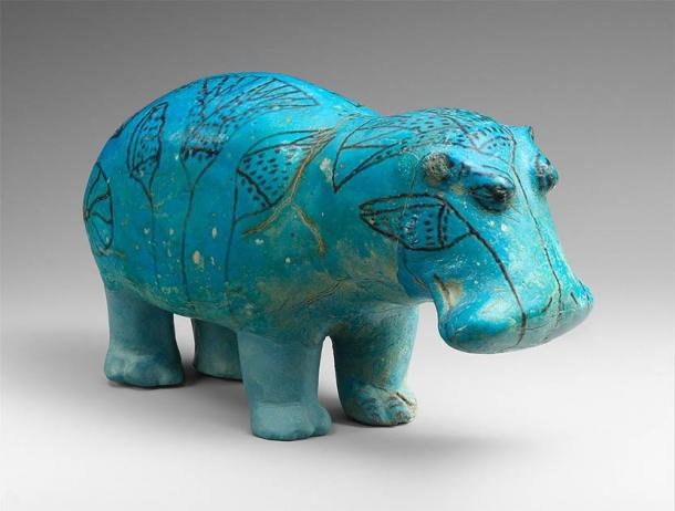 """The famous """"William"""" standing Egyptian hippo faience. (Metropolitan Museum of Art / CC0)"""