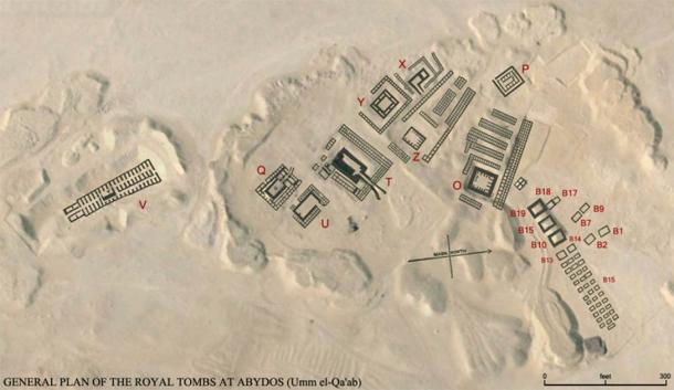 Satellite map of the Abydos cemetery, Umm El Qa'ab, with plan of the royal tombs overlain in black. (PLstrom / CC0)