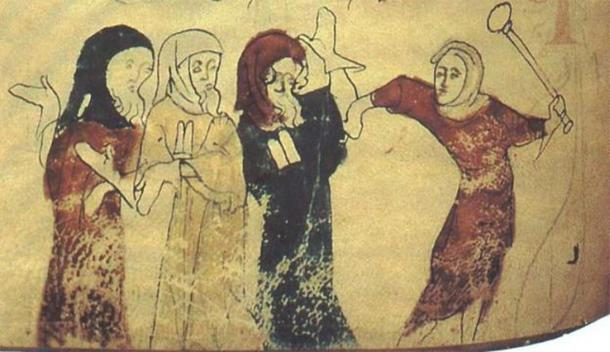 Miniature showing the expulsion of Jews following the Edict of Expulsion by Edward I of England (18 July 1290). (Public Domain)