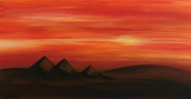 Egypt's Pyramids of Giza at sunset (acrylic on canvass). (Jennifer Stephenson / author provided)