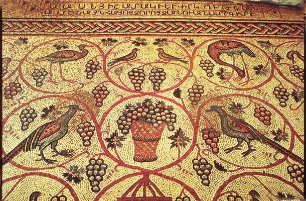 Works like the Armenian Bird Mosaic were created after the development of the Armenian alphabet. (Vissarion / Public Domain)