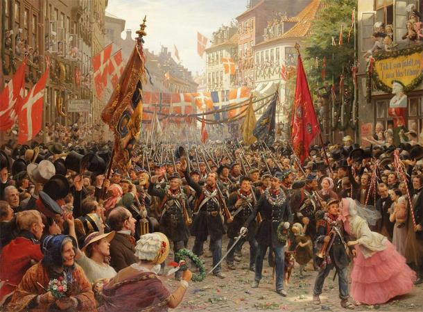 Danish soldiers return home to Copenhagen after the First Schleswig War. (Otto Bache / Public domain)