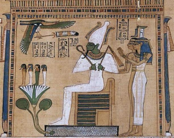 Osiris, seated on his shrine with Isis and Nephthys, Book of the Dead, c 1275 BC (Public Domain)