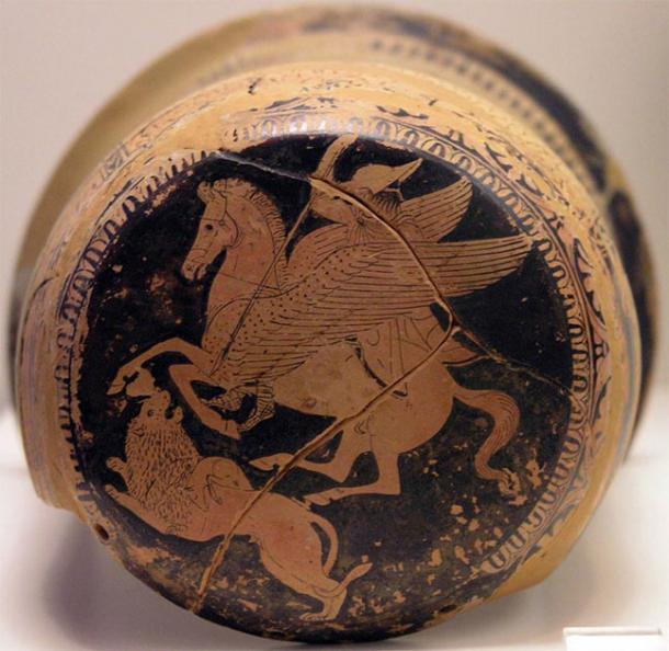 Bellerophon on Pegasus spears the Chimera, on an Attic red-figure epinetron, 425–420 BC. (National Archaeological Museum of Athens / CC BY-SA 2.5)