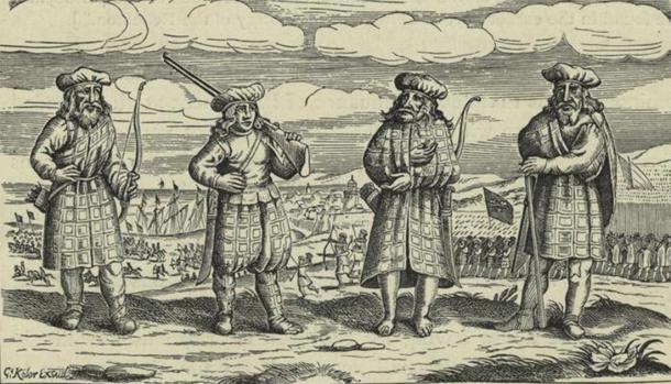 Scottish soldiers wearing tartan. (Public Domain)