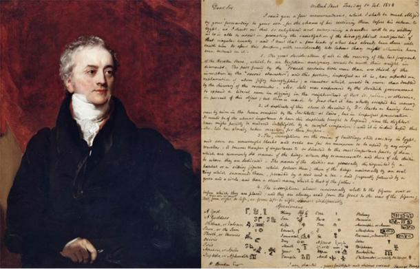 Thomas Young (Public Domain) and a letter he wrote in 1818 about hieroglyphs. (Trustees of the British Museum/CC BY NC SA 4.0)