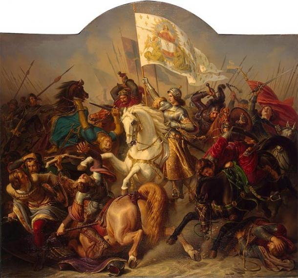 Joan of Arc in Battle (1843) by Hermann Stilke. (Public Domain)