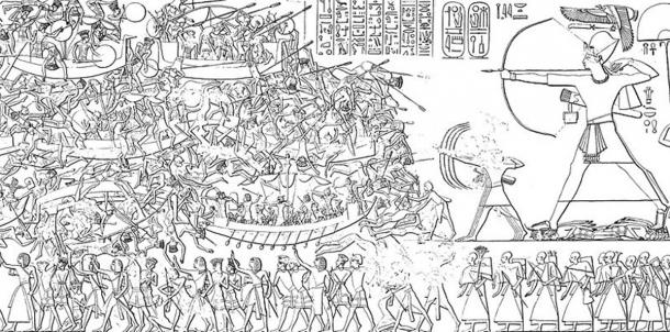 Ramesses III in battle against the Sea Peoples ( Public domain)