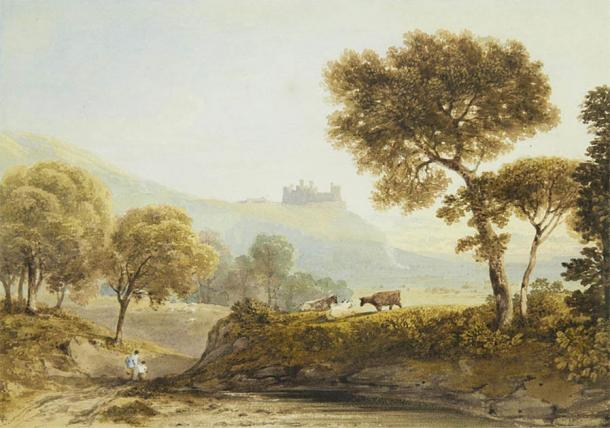 Harlech Castle became a popular destination for artists from the 19th century, attracted by its beauty and the surrounding landscape. Watercolor of Harlech Castle by Copley Fielding (1855). (Public domain)