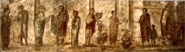 Fresco from Pompeii, showing everyday life in Roman market. (Public domain)