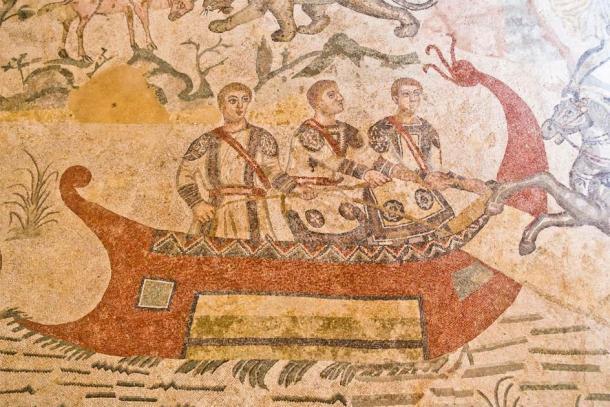 Detalles de mosaico dentro de villa romana en Piazza Armerina, Sicilia. (banepetkovic / Adobe Stock)