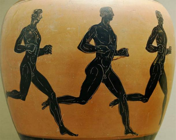 Three ancient Greek runners on a Panathenaic prize amphora at the British Museum. Olympic athletes are said to have competed in the nude as a symbol of Greekness, probably from the fifteenth Olympiad onwards. (British Museum / CC BY 2.5)