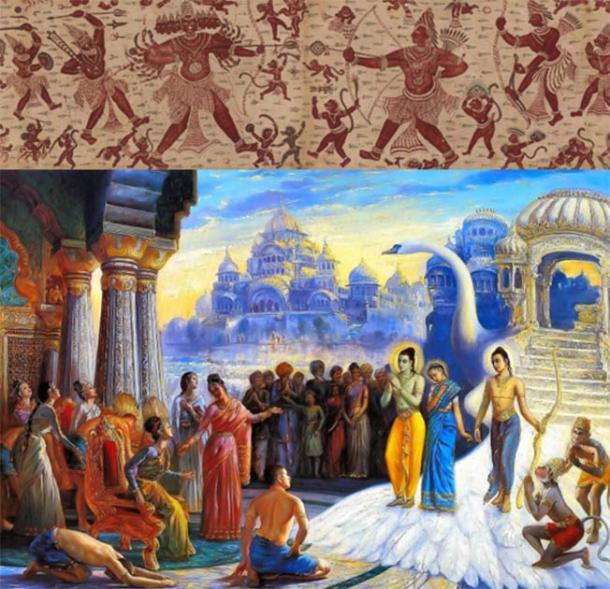 Top: The Combat of Rama and Ravana. India, Coromandel Coast, late 18th century. (Credit: The Met New York Ramayana exhibition on Architectural Digest) Bottom: Sita, Rama and Laksmana enter Ayodhya by Ramadasa-abhirama Dasa. (Credit: Diwali in Indian Culture)