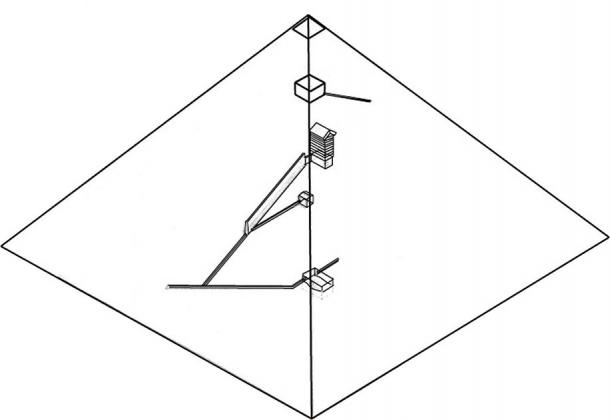 Proposed chamber system in Khufu's pyramid (looking south-east) with a similar entrance high on the west side. (Illustration by author)