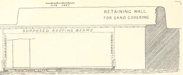 Drawing of a cross-section through the burial chamber of Pharaoh Djet (Tomb Z), made by Flinders Petrie, showing remains of a mud-brick retaining wall that would have once encased a burial mound of sand and gravel. (Petrie, W.M.F. The Royal Tombs of the First Dynasty, 1900-1901, Parts I & II, Cambridge University Press, 2014, originally published in 1901). (Archive.org)
