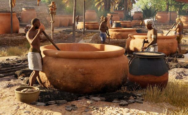 Rappresentazione di antichi egizi che producono birra.
