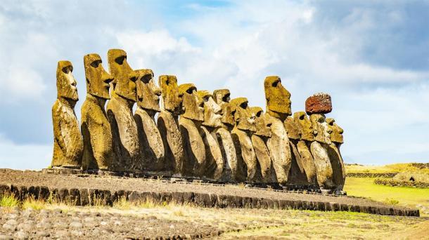 Group of Moai monoliths on Easter Island. (Michael @ MoodyImage / Adobe stock)
