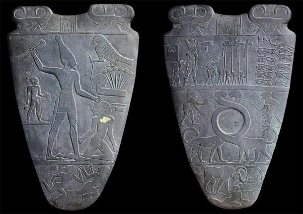 Narmer Pallete, depicting the unification of Upper and Lower Egypt under Narmer, c 3200 – 3000 BC (Public Domain)