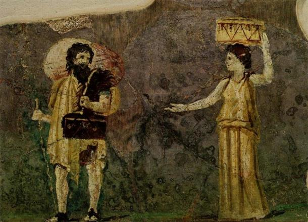 1st century wall painting showing the Cynic philosophers Crates and Hipparchia. From the garden of the Villa Farnesina, Museo delle Terme, Rome. (Public Domain)