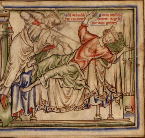 Sweyn Forkbeard, England's shortest reigning king, is killed by King Edmund the Saint. Illustration from The Life of King Edward the Confessor in a manuscript from around 1250. (Public domain)