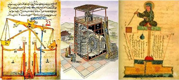 Three different depictions of ancient water clocks, all part of the history of timekeeping.
