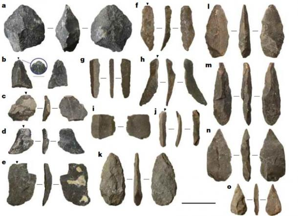 Examples of lithic artefacts from Chiquihuite Cave.a, Core. b–e, Flakes; inlay in b emphasizes an isolated platform. f–j, Blades. k–o, Points. Scale bar, 3 cm. (Ardelean et al.,2020 / Nature) The researchers say that this lithic industry has no parallel in the continent.