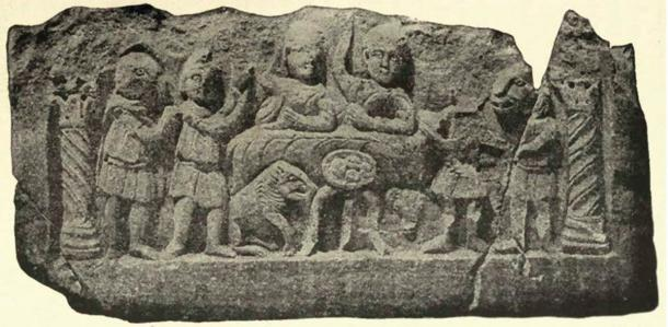 Mithraic communion, bas relief from Konjica, Bosnia showing Mithras and the sun god Sol feasting, lower rank initiates serving, four loaves of bread with crosses marked on them. (Public Domain)