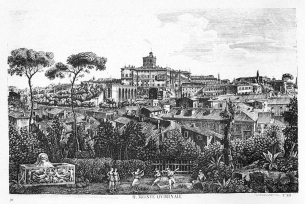 An etching of Quirinal Hill in Rome showing the Palzzo del Quirinale. (Public domain)